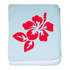 Red Hibiscus Tropical Hawaii Flower baby blanket
