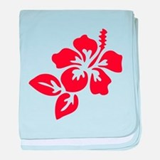 Red Hibiscus Tropical Hawaii Flower baby blanket