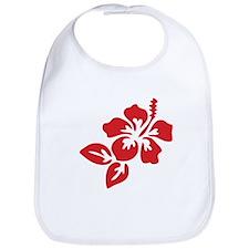 Red Hibiscus Tropical Hawaii Flower Bib