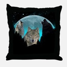 Wolves Twilight Harvest Moon Throw Pillow