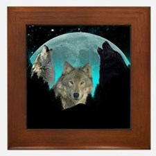 Wolves Twilight Harvest Moon Framed Tile