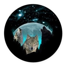 Wolves Twilight Harvest Moon Round Car Magnet