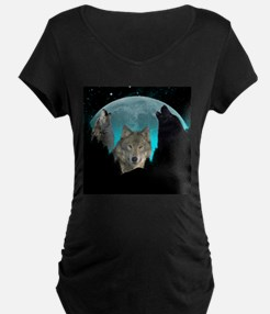 Wolves Twilight Harvest Moon Maternity T-Shirt
