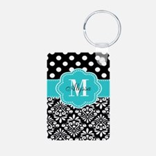 Teal Black Damask Dots Personalized Keychains
