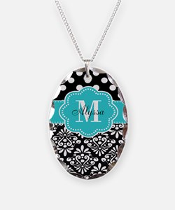 Teal Black Damask Dots Personalized Necklace