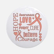 Endometrial Cancer Hope Words Ornament (Round)