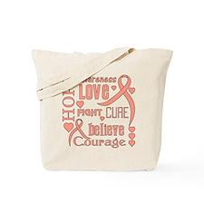 Endometrial Cancer Hope Words Tote Bag