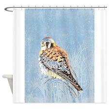 Watercolor Kestrel Falcon Bird Nature art Shower C