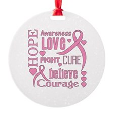 Breast Cancer Hope Words Ornament