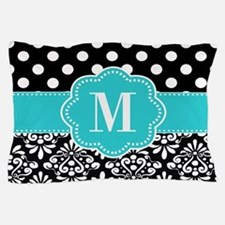 Teal Black Damask Dots Personalized Pillow Case