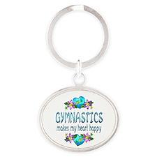 Gymnastics Heart Happy Oval Keychain