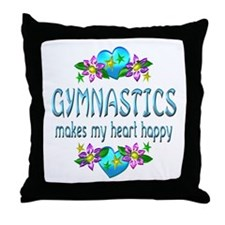 Gymnastics Heart Happy Throw Pillow