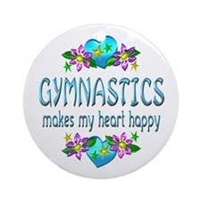 Gymnastics Heart Happy Ornament (Round)