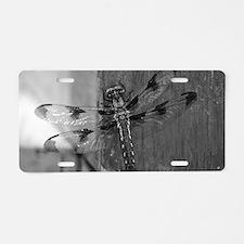 Dragonfly Black & White Aluminum License Plate