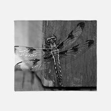 Dragonfly Black & White Throw Blanket