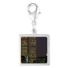 Twin towers at dusk Silver Square Charm