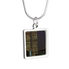 Twin towers at dusk Silver Square Necklace