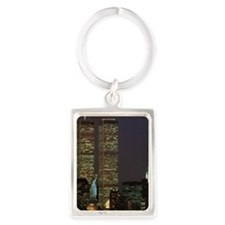 Twin towers at dusk Portrait Keychain