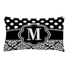 Black Dots Damask Monogram Pillow Case