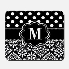 Black Damask Dots Monogram Mousepad