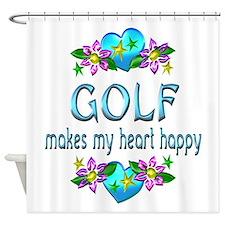 Golf Heart Happy Shower Curtain