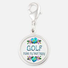 Golf Heart Happy Silver Round Charm