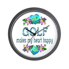 Golf Heart Happy Wall Clock