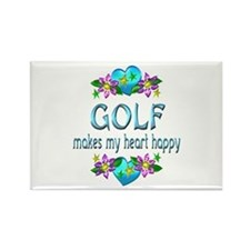 Golf Heart Happy Rectangle Magnet (10 pack)