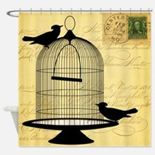 Birdcage With Vintage Script Aged Shower Curtain
