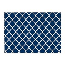 Navy Blue Quatrefoil Pattern 9 5'x7'Area Rug