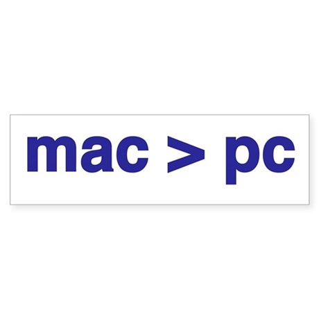 mac>pc - bumper sticker