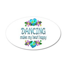 Dancing Heart Happy 20x12 Oval Wall Decal