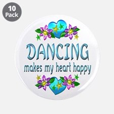"""Dancing Heart Happy 3.5"""" Button (10 pack)"""