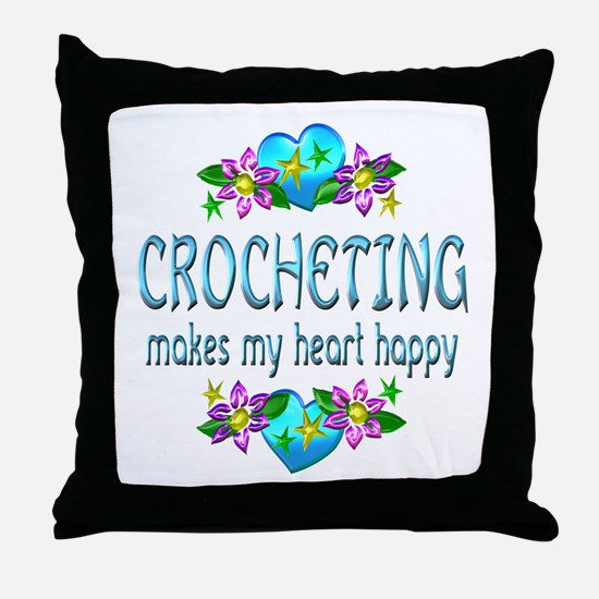Crocheting Heart Happy Throw Pillow