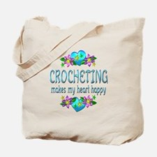 Crocheting Heart Happy Tote Bag