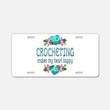 Crocheting Heart Happy Aluminum License Plate