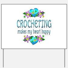 Crocheting Heart Happy Yard Sign