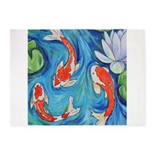 Three Koi Fish 5'x7'Area Rug