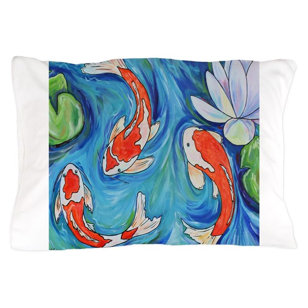 Three koi fish pillow case by melaniedouthitart for Koi fish pillow