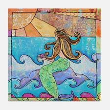 Sunset Mermaid Beach Tile Coaster
