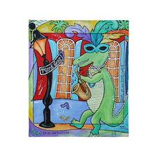 Mardi Gras Jazz Gator Throw Blanket