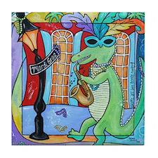 Mardi Gras Jazz Gator Tile Coaster