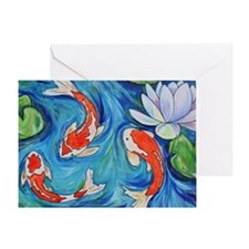 Koi Fish Pond Greeting Card