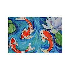 Koi Fish Pond Rectangle Magnet