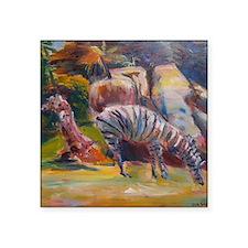 """""""Zebras in San Francisco""""  Square Sticker 3"""" x 3"""""""