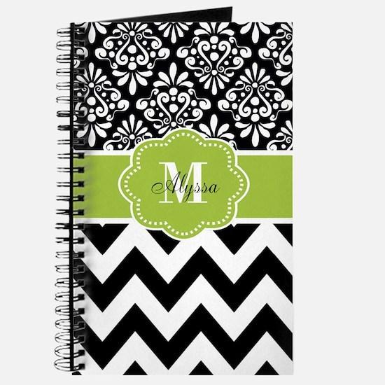 Black Green Chevron Personalized Journal