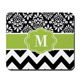 Black green chevron Mouse Pads