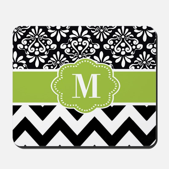 Green Black Damask Chevron Monogram Mousepad