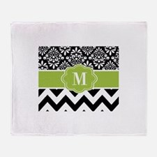 Green Black Damask Chevron Monogram Throw Blanket