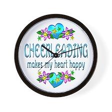 Cheerleading Heart Happy Wall Clock